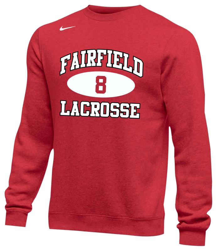 44cc6287 Fairfield Lacrosse Nike Team Club Crew Fleece - Fairfield University ...